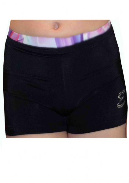 EARL134 Black Shorts with Flower Waistband From £13.50